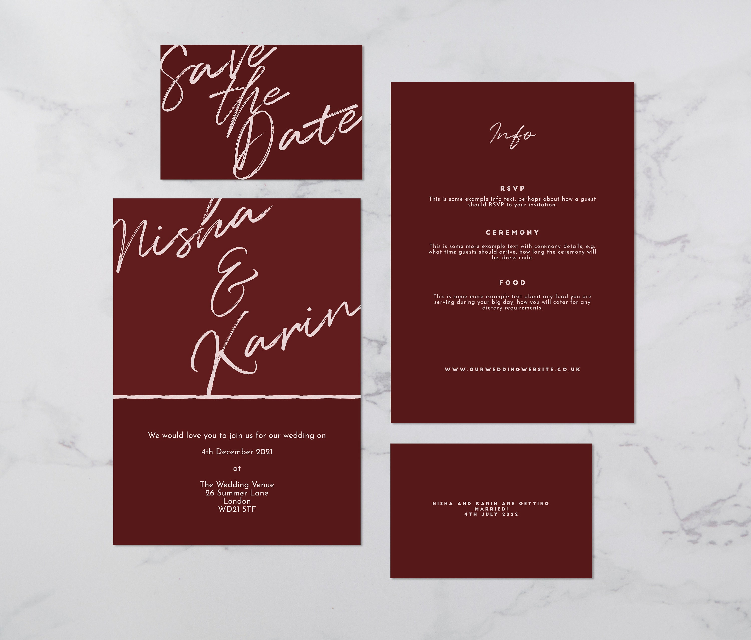 Flat lay photograph of the front and back of a wedding save the date, an invitation card and information card. Each card is two-tone burgundy