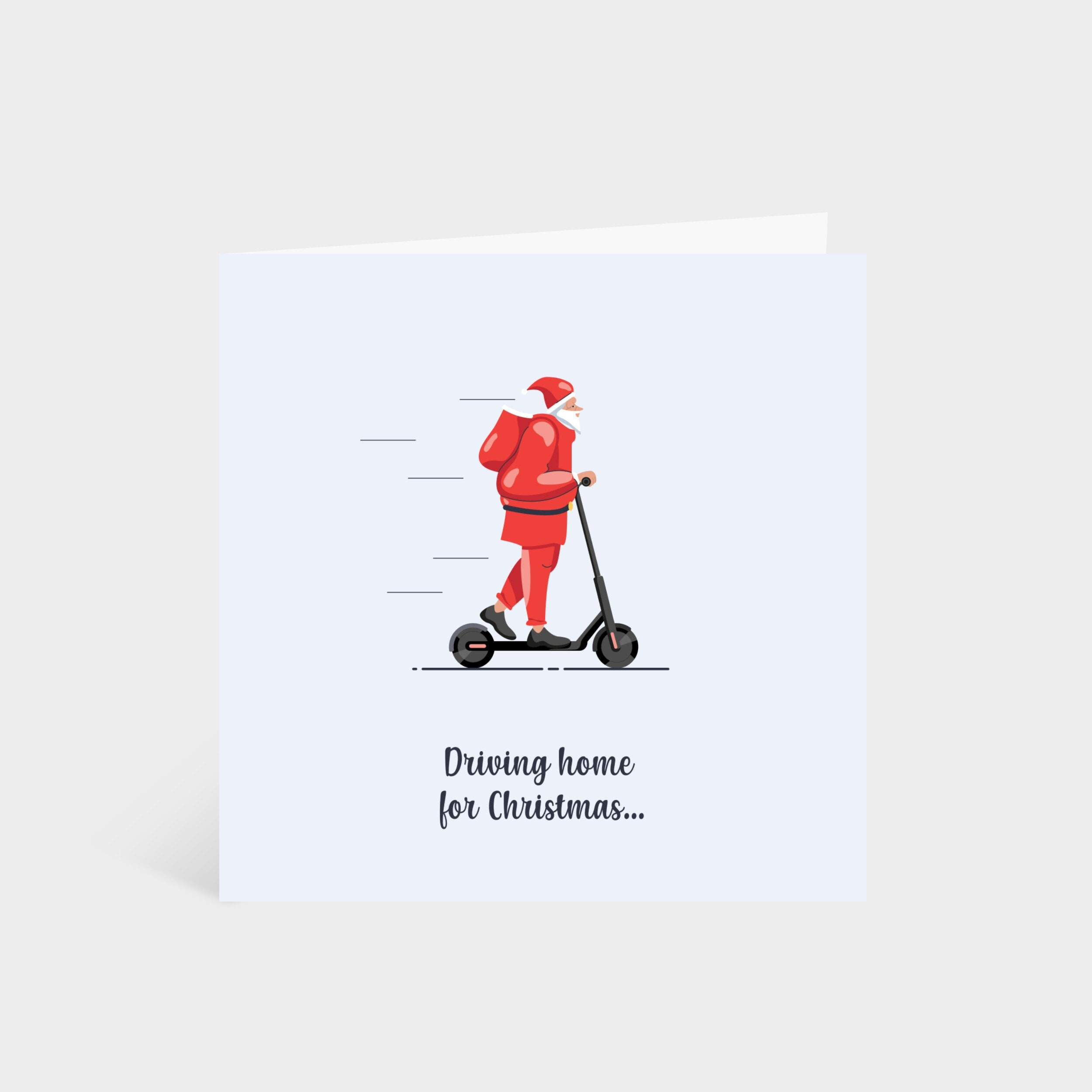 Standing square light blue card with an illustration of Santa Claus riding on an electric scooter
