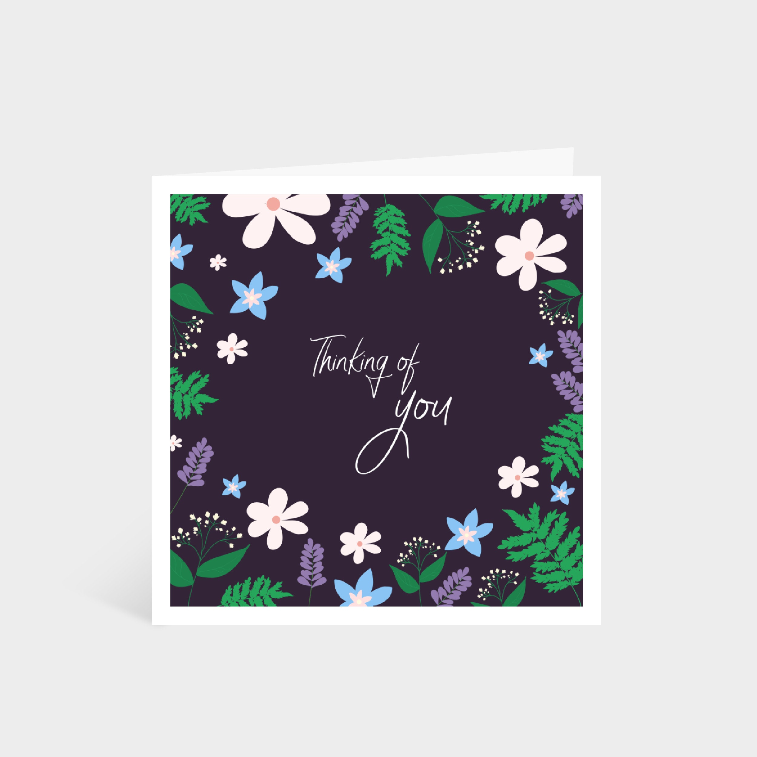 "Standing dark purple square card with a colourful illustrated floral border; says ""Thinking of you"" in calligraphy font in the middle"