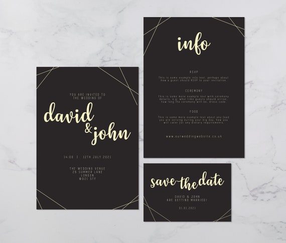 Flat lay photograph of a wedding save the date, invitation and information card. The design of each is mostly black card with gold colour details.
