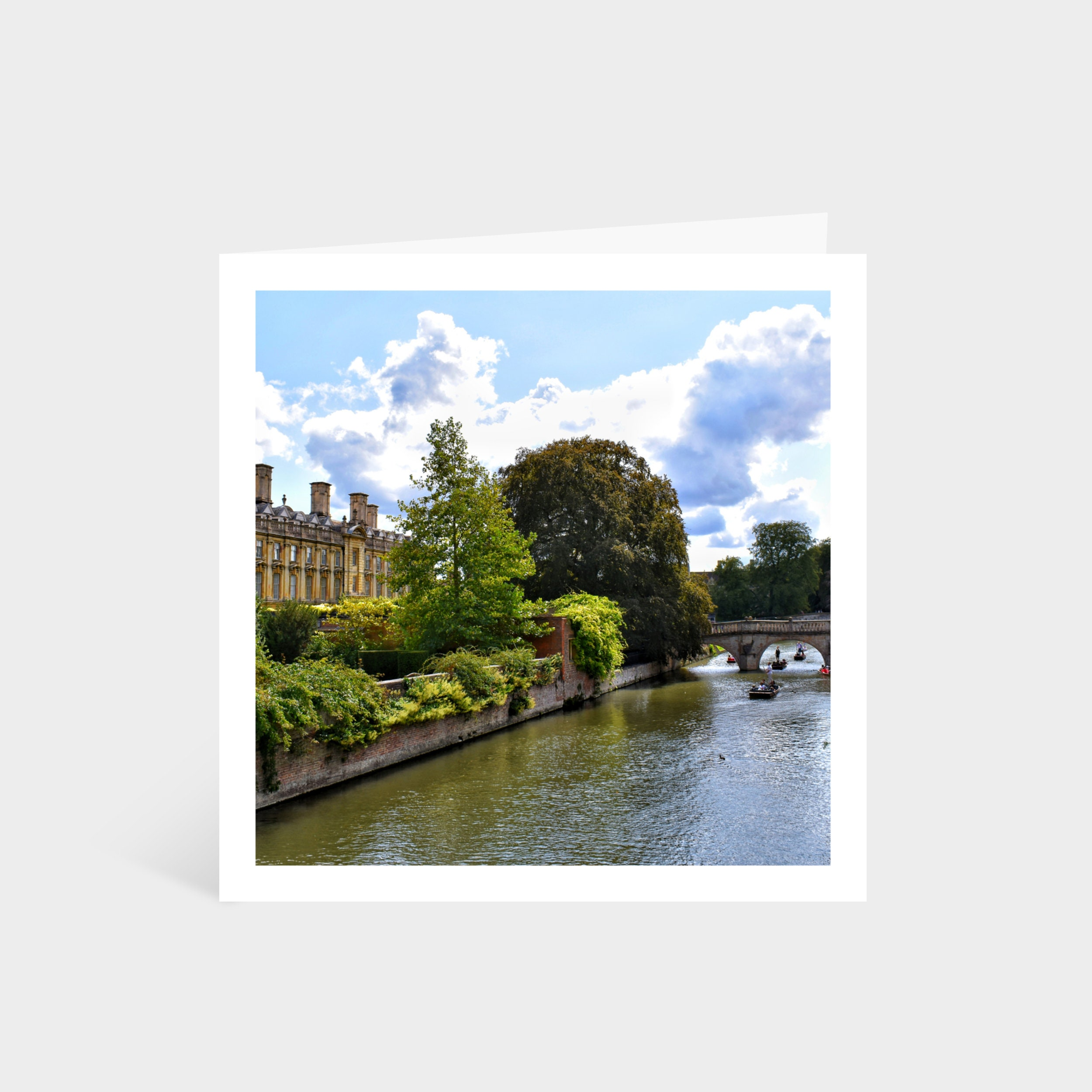 Standing square card with a photo of The Backs in Cambridge