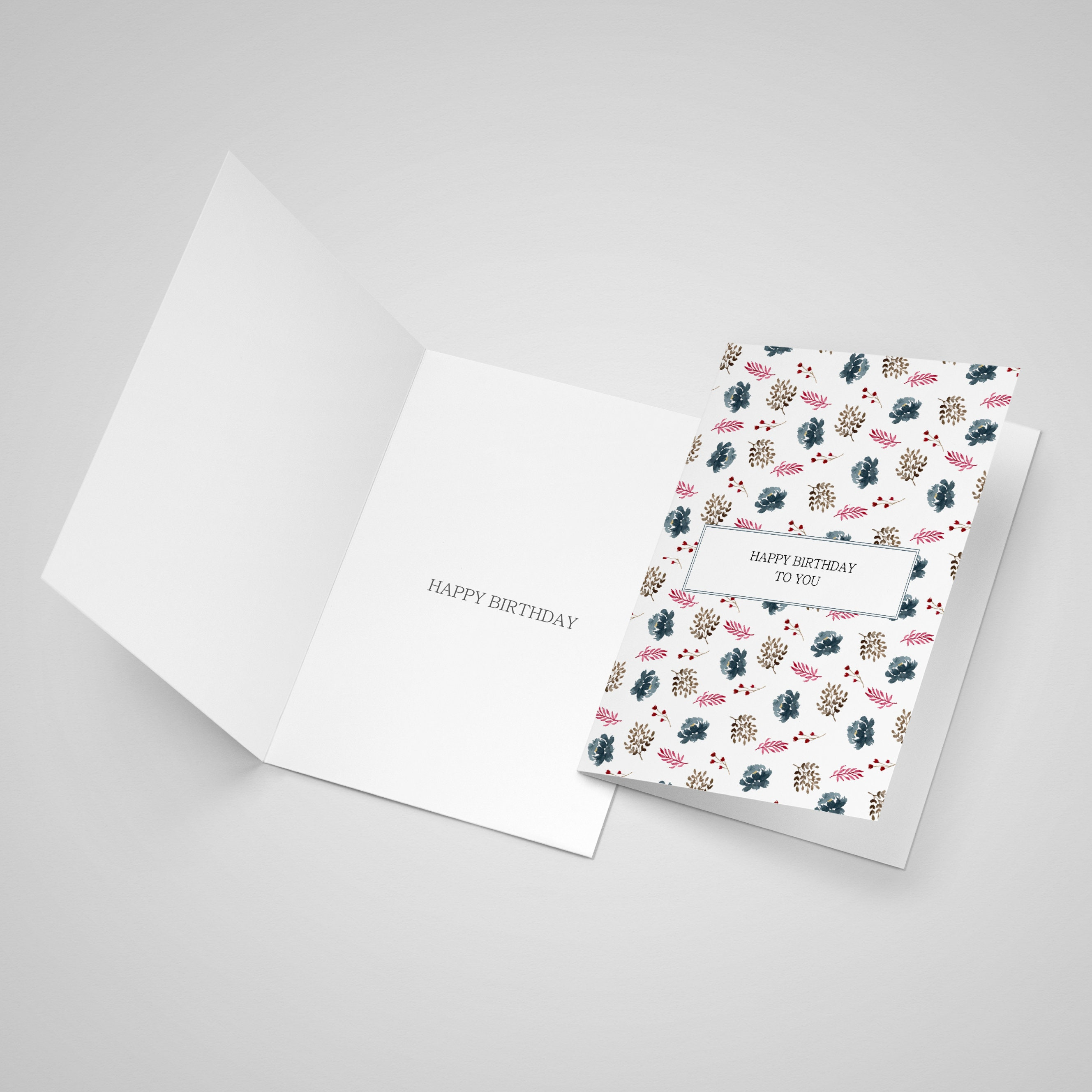 """Open card showing that the inside of the card has a """"Happy Birthday"""" message printed inside"""