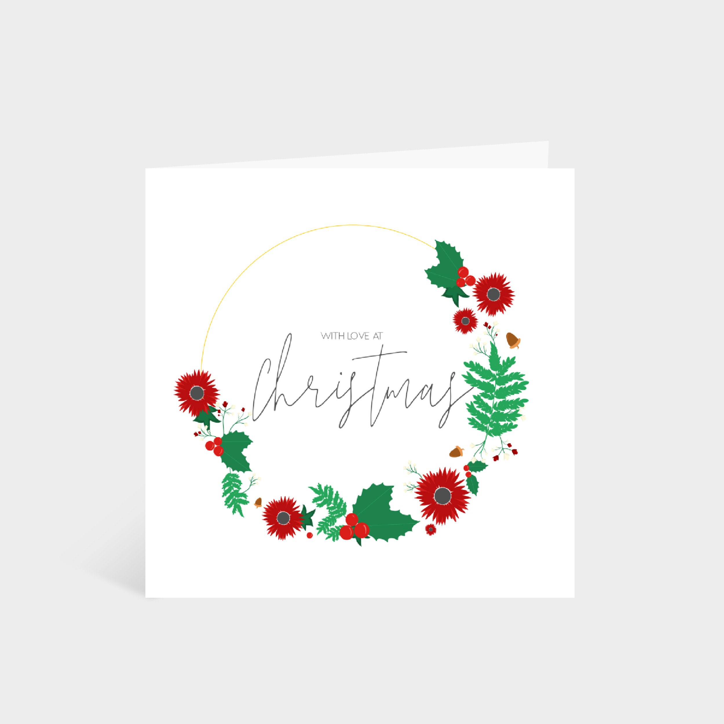 """Standing white square card with an illustrated Christmas wreath; says """"With love at Christmas"""" in a calligraphy font in the middle"""