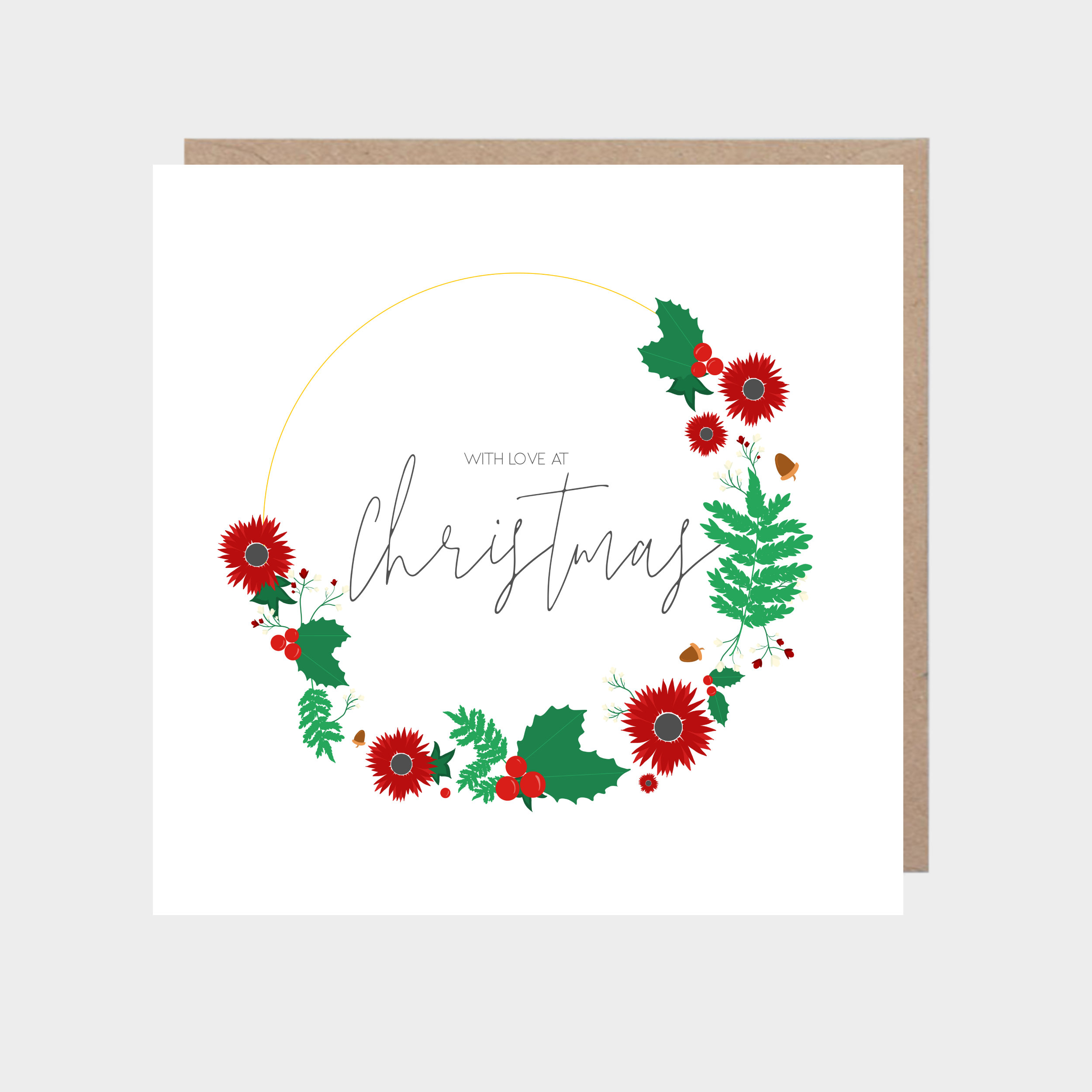 White illustrated Christmas wreath card, with a brown kraft envelope