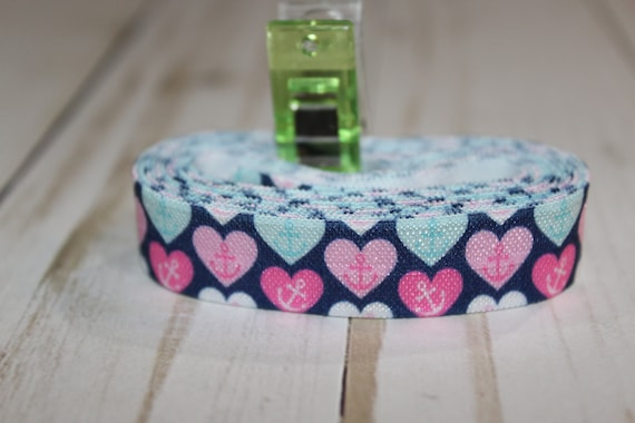 Blue with pink anchor heart print 58 inch Fold Over Elastic by the yard FOE