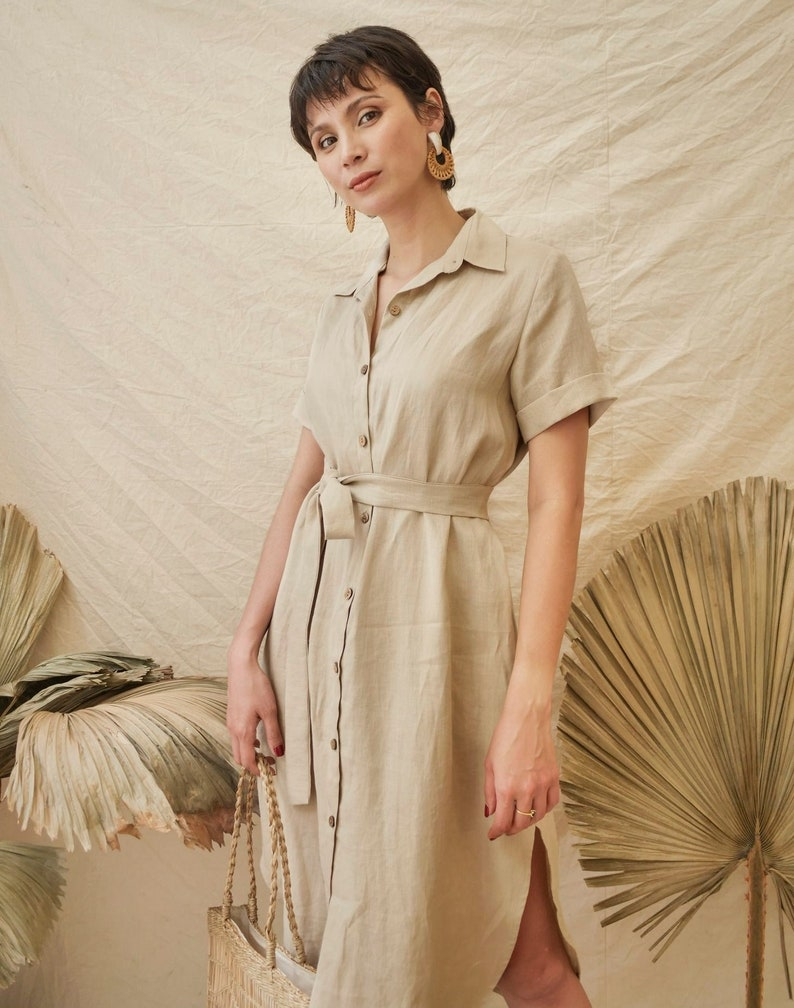 Linen Dress with Detachable Tie Front Buttons Dress Linen Shirt Dress Linen Midi Dress