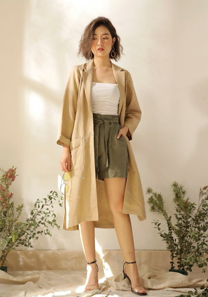 Cottagecore Clothing, Soft Aesthetic Casual Linen Jacket - Women Coat for Fall - Linen Duster Coat in Beige $81.50 AT vintagedancer.com
