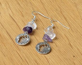 Hypoallergenic Crystal Earrings // Clear Quartz, Rose Quartz and Amethyst