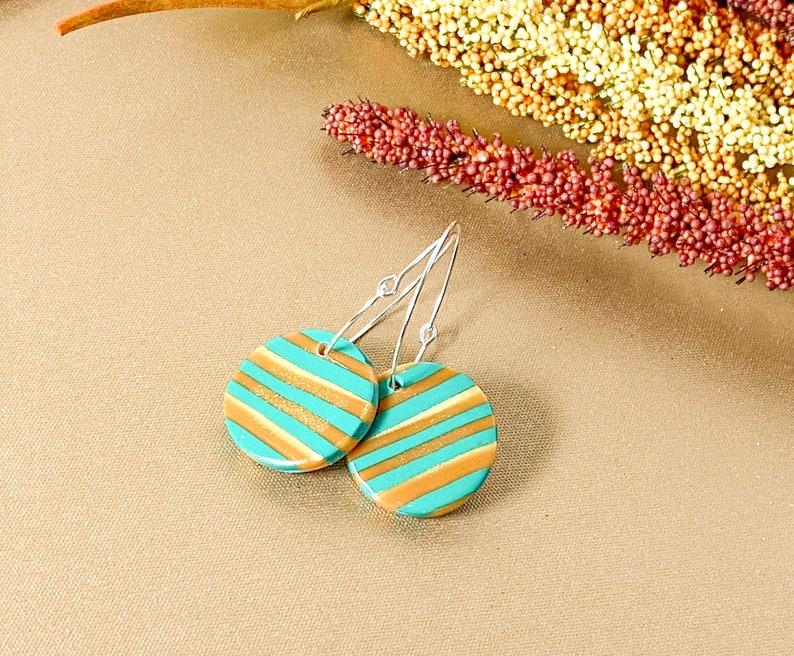 Jade and Gold Earrings  Striped Earrings  Polymer Clay Earrings  Statement Earrings   Unique  Neutral Earring  Geometric