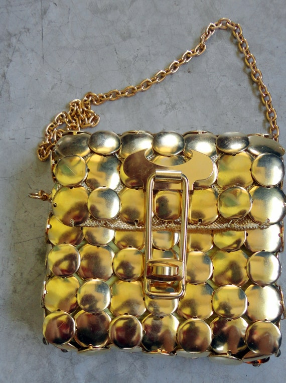 rare vintage bag gilded 80s style paco rabanne