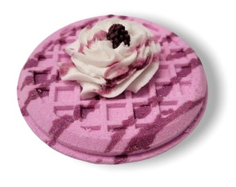 Berry-licious Waffle Bath Bombs with Bubble Frosting and Mini Soap Topper | Specialty Bath Fizzy With Solid Bubble Bar Topping | Confection