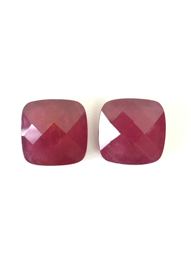 10.56 Ct RUBY Pair Cushion Shape Size 10X10 mm Cut Faceted  Attractive High Quality Fine Loose Gemstone Best Making Earring  Jewelry