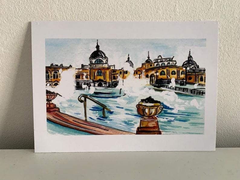 Collectible Print of Original Watercolour Budapest Szechenyi Thermal Bath Wall Art Travel Illustration. Holiday Destination
