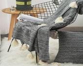 Black pom pom throw blanket,Moroccan blanket,bed sofa throw blanket,summer blanket,boho blanket,soft picnic blanket towel,blanket blanket