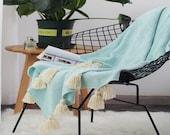 Mint blue pom pom throw blanket,Moroccan blanket,bed sofa throw blanket,summer blanket,boho blanket,soft picnic blanket towel,throw blanket