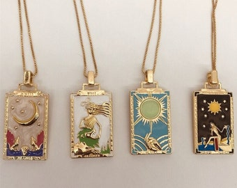 Tarot Card Pendant Necklace/ Star/strength/ Sun/ Moon/Symbolic Necklace/Tarot Card Jewelry/Mystic Jewelry/Silver Tarot Necklace/Gift For Her