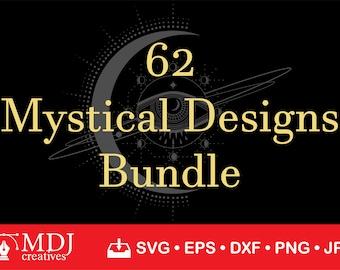 62 MYSTICAL DESIGNS, Mystical Bundle Svg, Celestial Svg, Moon Svg, Wicca Svg, Magical Svg, Stars Svg, Koi Fish Svg, Boho Svg