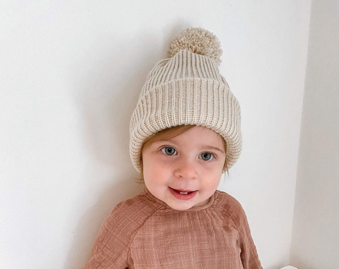 Featured listing image: stunning hand made knitted pom pom hat/ new baby hat/ Autumn baby beanie/hospital beanie /new baby gift /stone baby hat