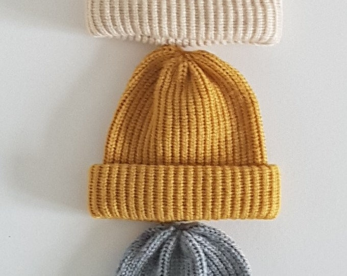 Featured listing image: hand made knitted baby beanie/knitted newborn baby hat/winter  baby hat/ new baby gift/rib beanie /baby boy beanie/ baby girl beanie