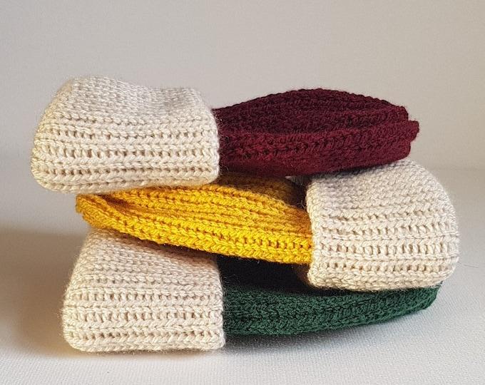Featured listing image: Hand made baby beanie  / child/adult beanie hat/ fisherman's rib beanie hat/