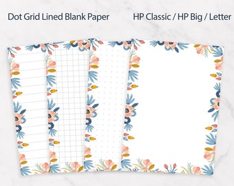 Happy planner classic inserts, Dotted grid lined paper, Printable Flora notes page kit, Happy planner big template, Letter size notes insert