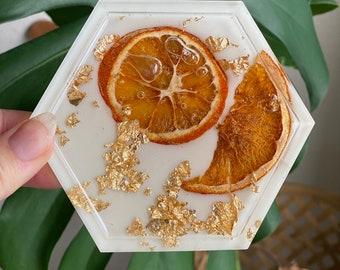 Orange slice coasters - single resin coaster- housewarming gift - trinket trays - jewelry tray - ashtray gift - dorm room