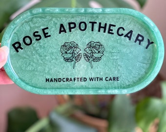 Rose apothecary oval tray - jewelry tray, rolling tray, ring dish, shitts creek, pressed flowers, resin tray resin dish, pill tray epoxy