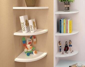 Pack of 3 Floating White Corner Shelf Shelves Wooden Wall Storage Unit Bedroom