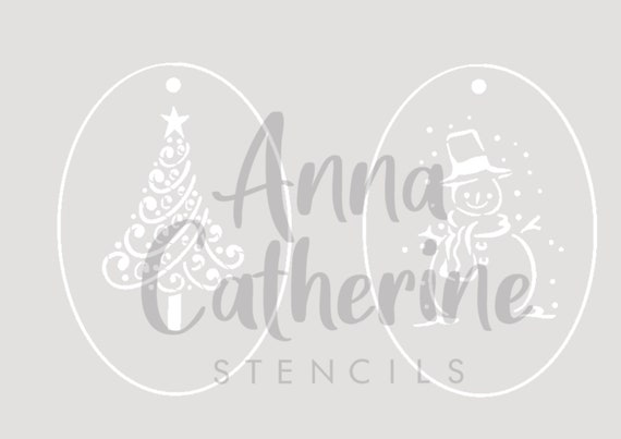 Children/'s face paint Stencils Christmas tree and snowman festive airbrush 190 Micron Mylar by Anna Catherine Stencils