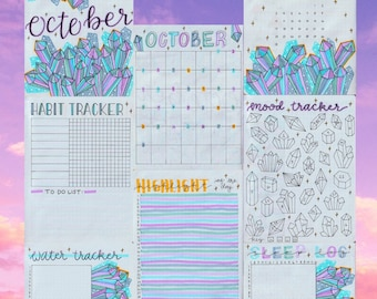 FULL October 2021 Bullet Journal Spreads for DIGITAL DOWNLOAD, bujo pages, bullet journal pages, tracker, habit, planner, mood, sleep