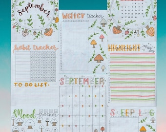 FULL September 2021 Bullet Journal Spreads for DIGITAL DOWNLOAD, September bujo, bullet journal pages, tracker, habit, planner, mood, sleep