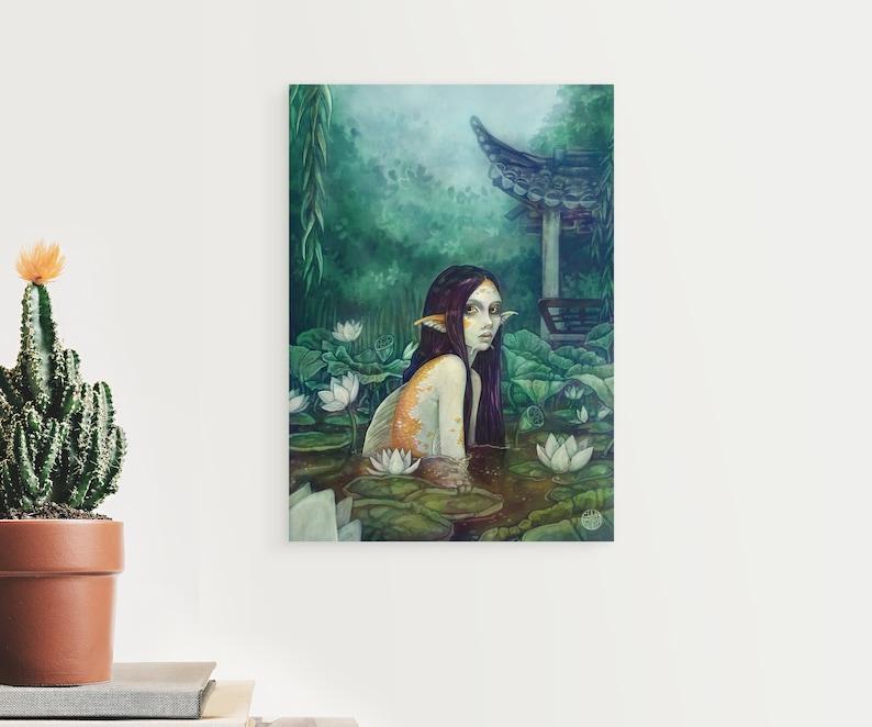 Mermaid Decor Fantasy Art A3 Size Poster Siren Artwork Mythical Creatures Mermaid Art Poster koi maiden