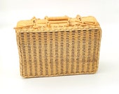 Vintage Wicker Rattan Picnic Basket Suitcase Picnic Basket for Two Boho Shabby Chic Decor Storage Basket