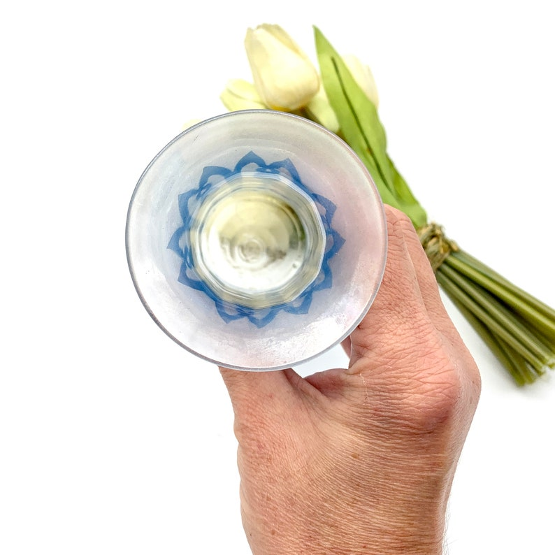 Vintage Light Blue Glass Cylinder Shape Vase Etched Pattern Glass Vase with Beige Faux Tulip Bunch Shabby Chic Decor