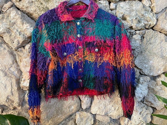 Vintage Rainbow Fringe Jacket Sz M