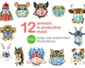 Animals in protective mask. Transparent PNG. Watercolor for instant download. Hand painted clipart. Be safe. Pandemic set. Health clipart