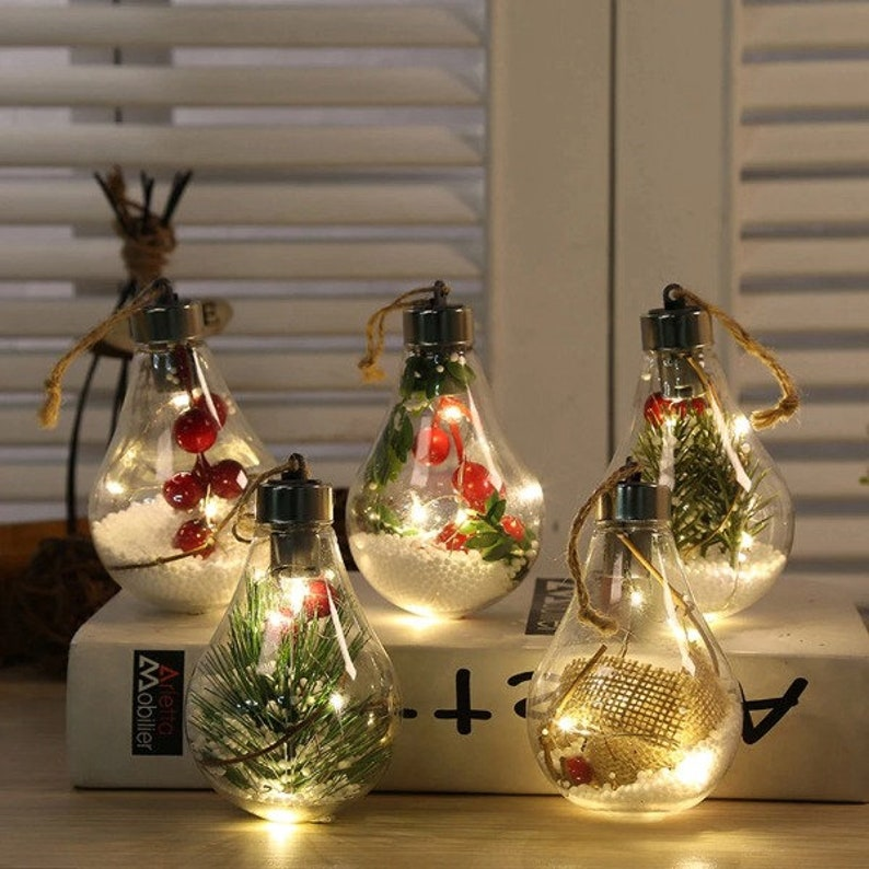 5 New Led Decoration Transparent Christmas Ball Festival 5 Color Set