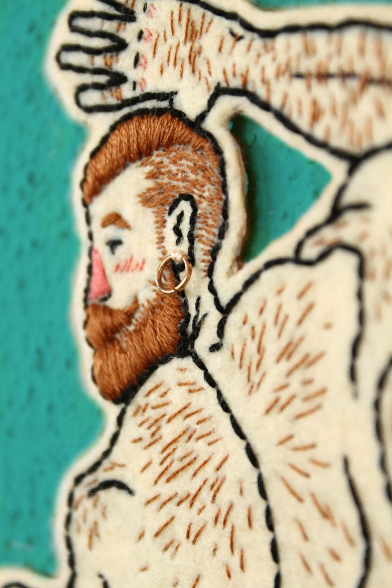 Gay patch Hand-embroidered patch Hairy man patch Ginger Man patch Red hair man patch Muscle man patch Handmade patch