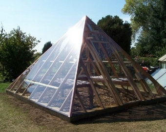 15x15 Pyramid Framed Greenhouse Plans/Detailed Building Construction Blueprints