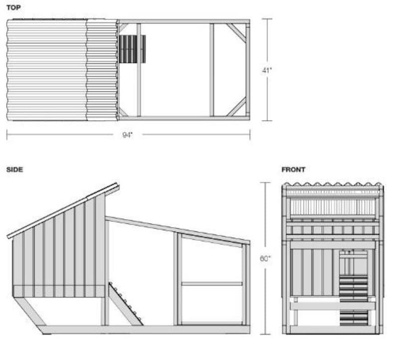 Chicken Coop Framing Plan Material, Cut List 3/'-5/'/'x7/' Modern Hen House with Run