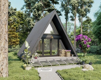 A-Frame two Story Tiny House Plans, 20' x 26' Triangular Cabin Building construction drawings with Cut and Material list