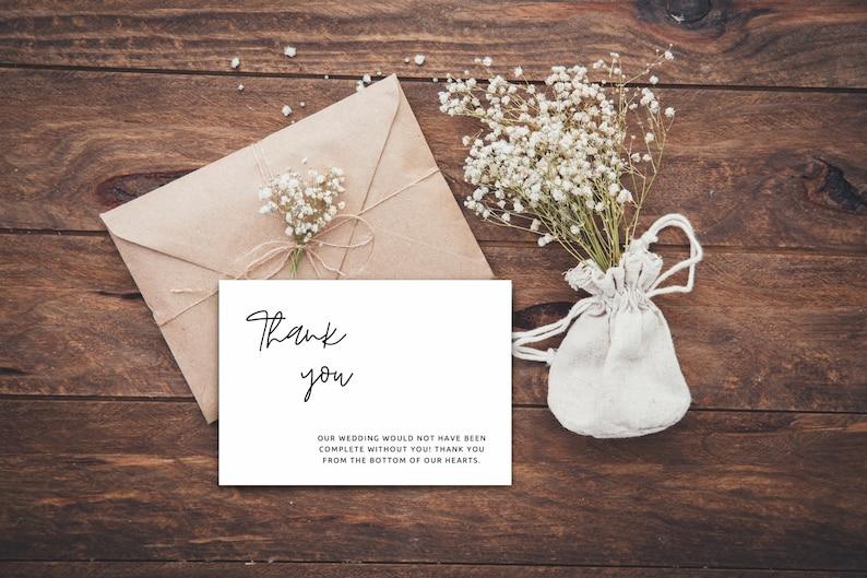 Editable Thank You Cards Modern Wedding Thank You Minimalist Thank You Card Template Modern Minimalist Simple Wedding Thank You