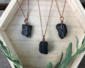 PROTECTIVE black tourmaline crystal necklace for men necklace for women
