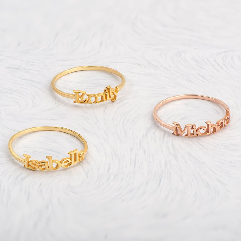 Gold Name Ring Baby Shower Gift Personalized Name Ring Christmas Gifts Mom Name Ring