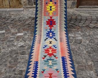 Turkish Kilim Rug Runner 2.32x9.84, Handwoven Rug, Southwestern Rugs, Morrocan Rug, Kitchen Rug, Boho Rug, Floor Rug, Oushak, Afghan Blanket