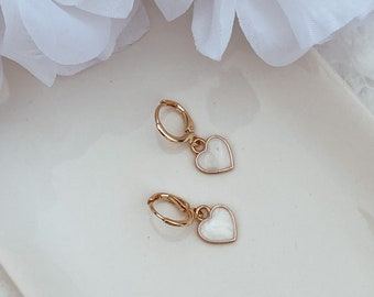Pastel 24k plated gold huggies, colorful spring jewelry, dainty earrings for her, gift for any occasions, hypoallergenic jewel, colorful