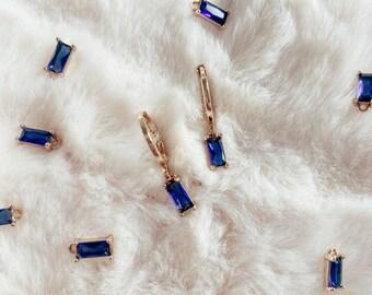 24k gold blue lagoon earrings, handmade earrings, brass gold earrings, blue collection