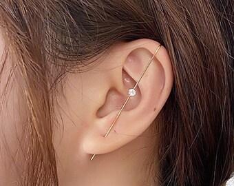 stick earrings Long Arc Earrings streetwear earrings Open Wire Earrings Stick Earring Arc Ear Threaders Earrings simple stick Earrings