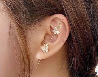 3D Effect Organza Butterfly ear cuff clip adjustable ear cuff rhinestone ear cuff