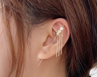 Jewelry findings Silver Tarnish resistant Long Hanging Chain Tassel BM72653 Earring Findings CZ Back Ear Stud Back End pendant, 2 pc
